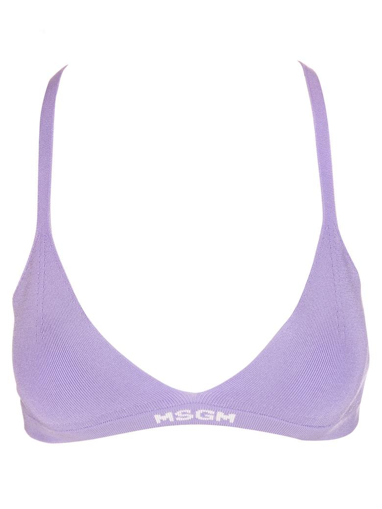 MSGM Purple Ribbed Knit Logo-hem Bra - Viola