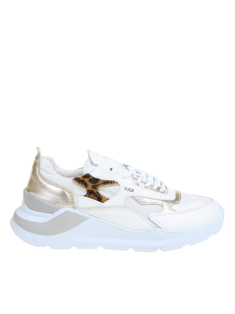 D.A.T.E. White Leather Sneakers - White/Silver