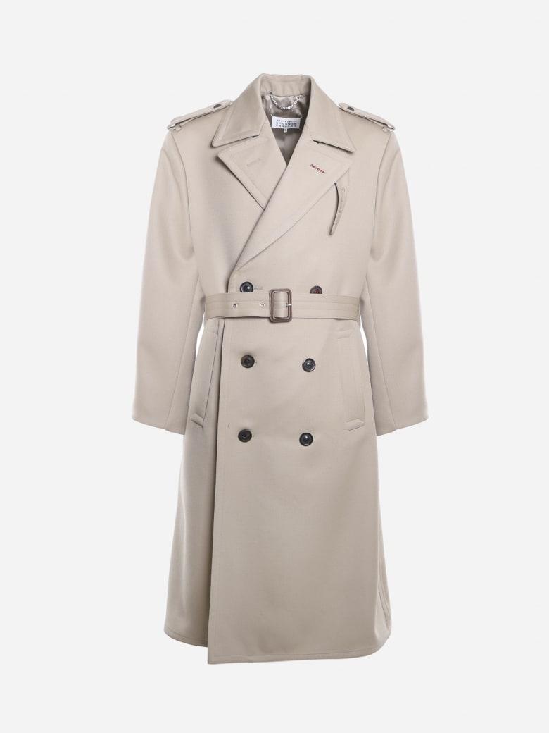 Maison Margiela Double-breasted Coat Made Of Wool - Beige