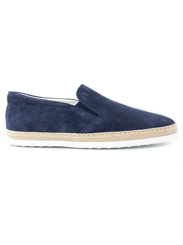 Tod's Slip-on Shoes In Blue Suede - Blu