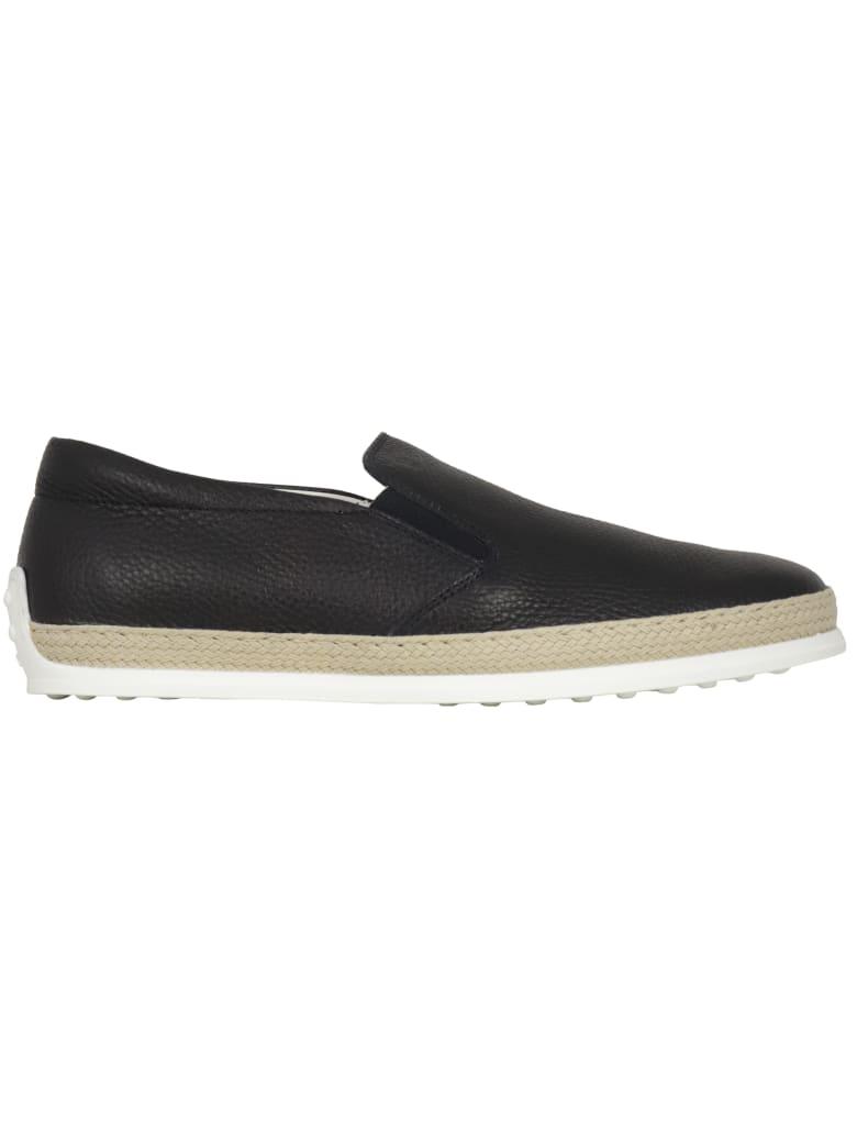 Tod's Pantofola Gomma Rafia Flat Shoes - BLUE