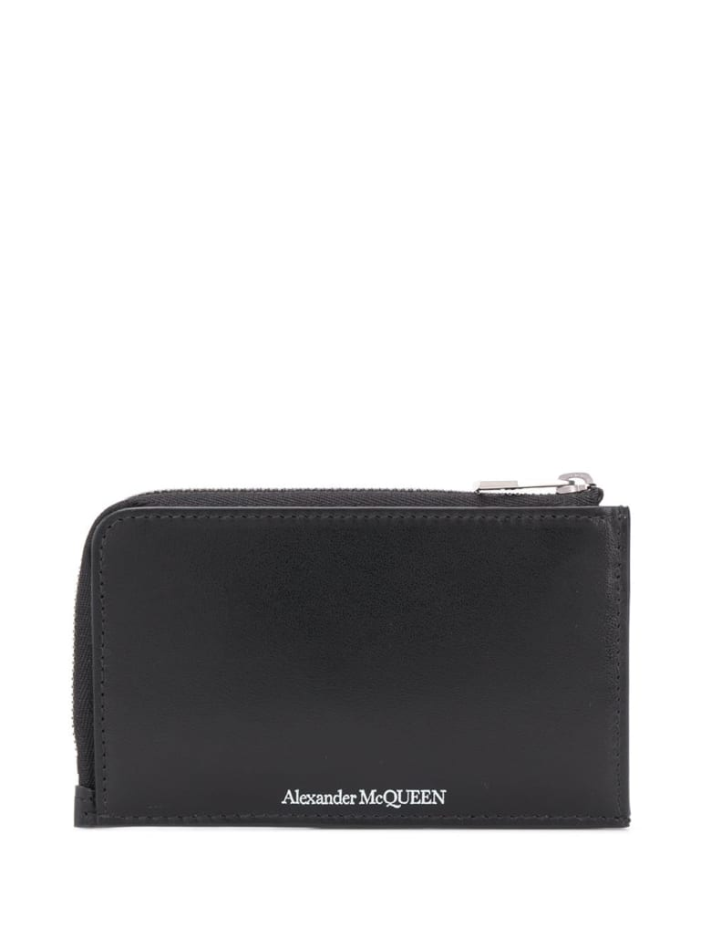 Alexander McQueen Man Black Wallet With Logo And Card Holder - Black