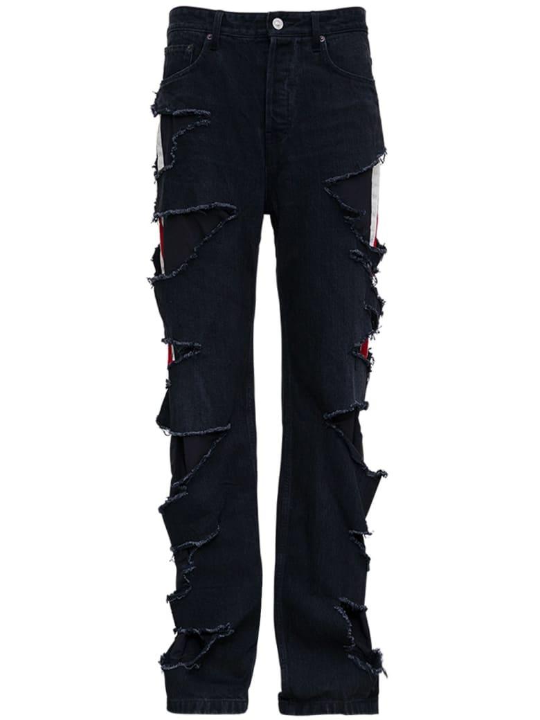 Balenciaga Slashed Loose Organic Denim Trousers - Black