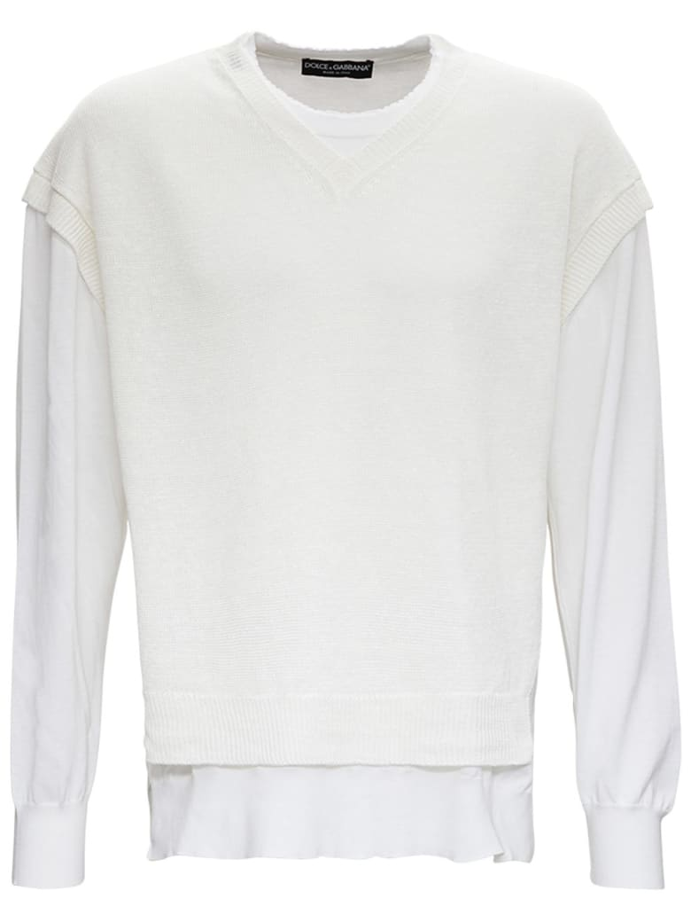 Dolce & Gabbana Double Layer Cotton And Linen Sweater - White