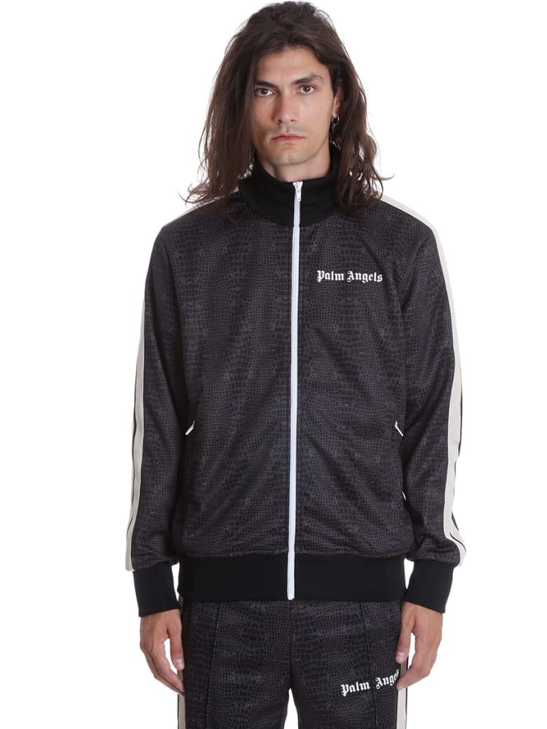 Palm Angels Croco Track  Sweatshirt In Black Polyester - black