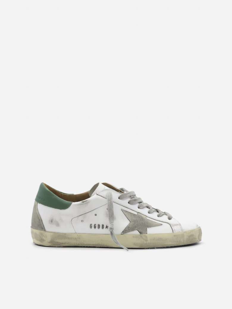 Golden Goose Superstar Sneakers In Leather With Contrasting Heel Tab - White