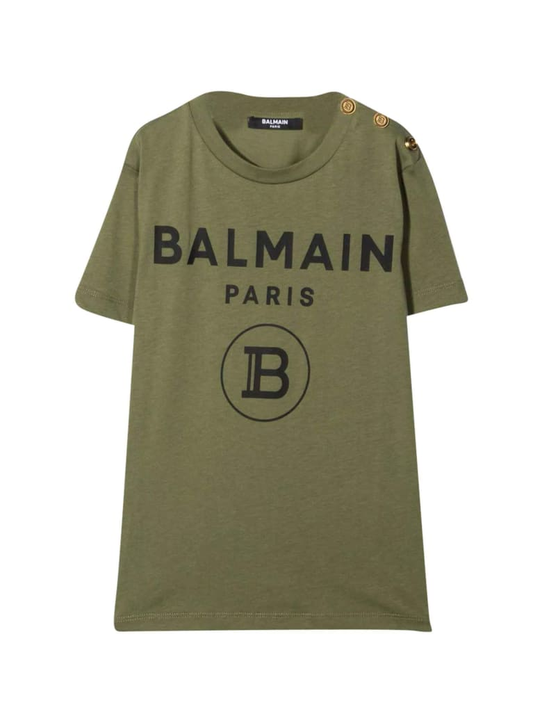 Balmain Unisex Military Green T-shirt - Verde