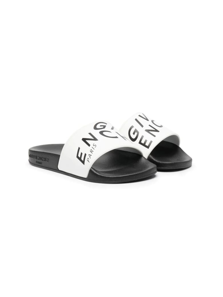 Givenchy White And Black Rubber Sandals - Bianco
