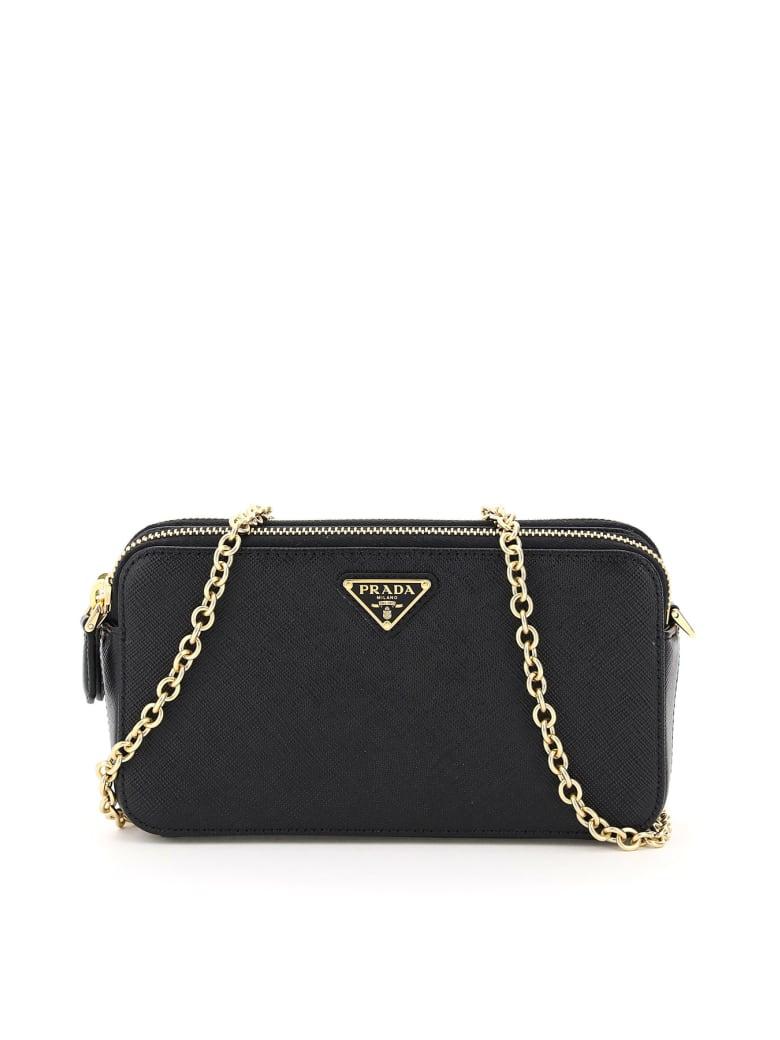 Prada Double Zip Chain Mini Bag - Nero