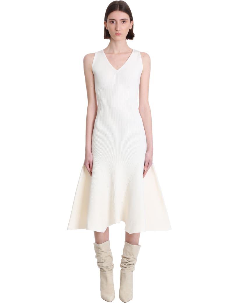 Ami Alexandre Mattiussi Dress In Beige Viscose - Bianco