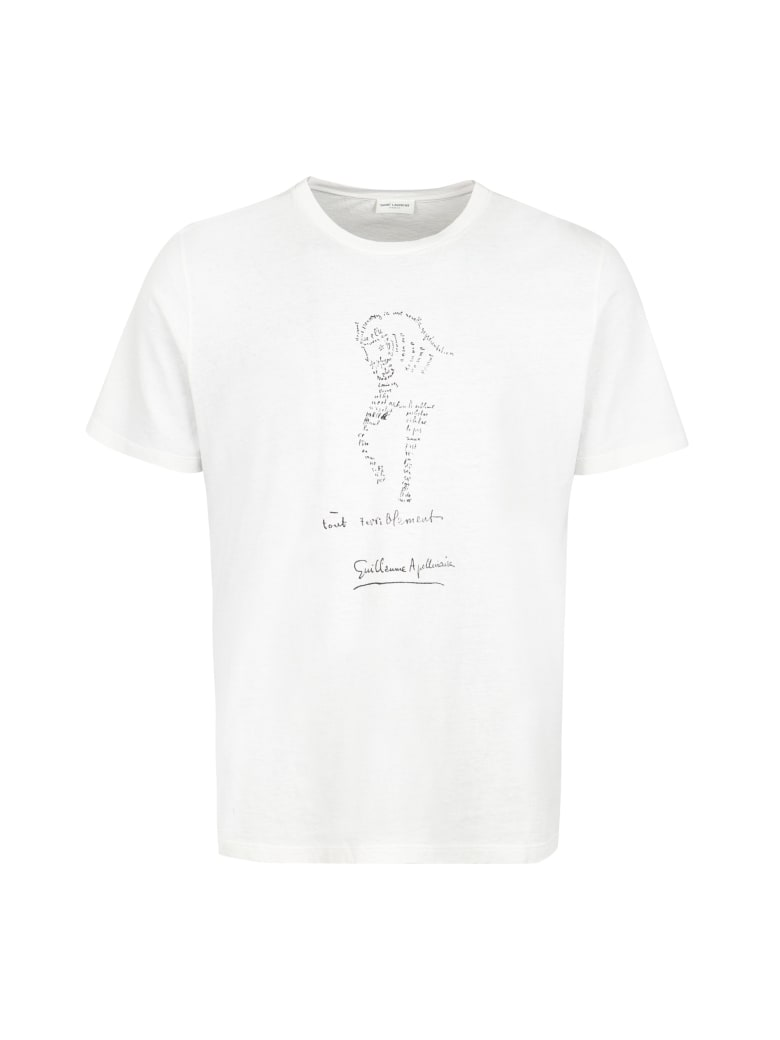 Saint Laurent Printed Cotton T-shirt - Ecru