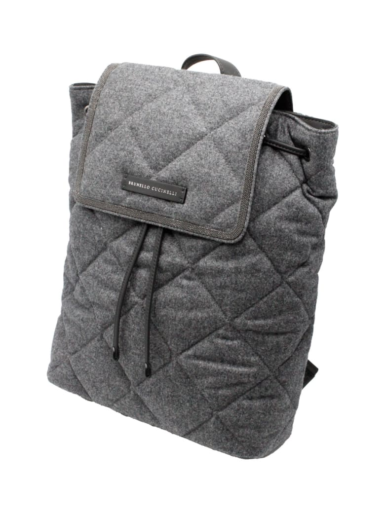 Brunello Cucinelli Backpack With Diamond Pattern In Wool And Leather Embellished With Rows Of Jewels. Measures 30 X 35 X 10 - Grey