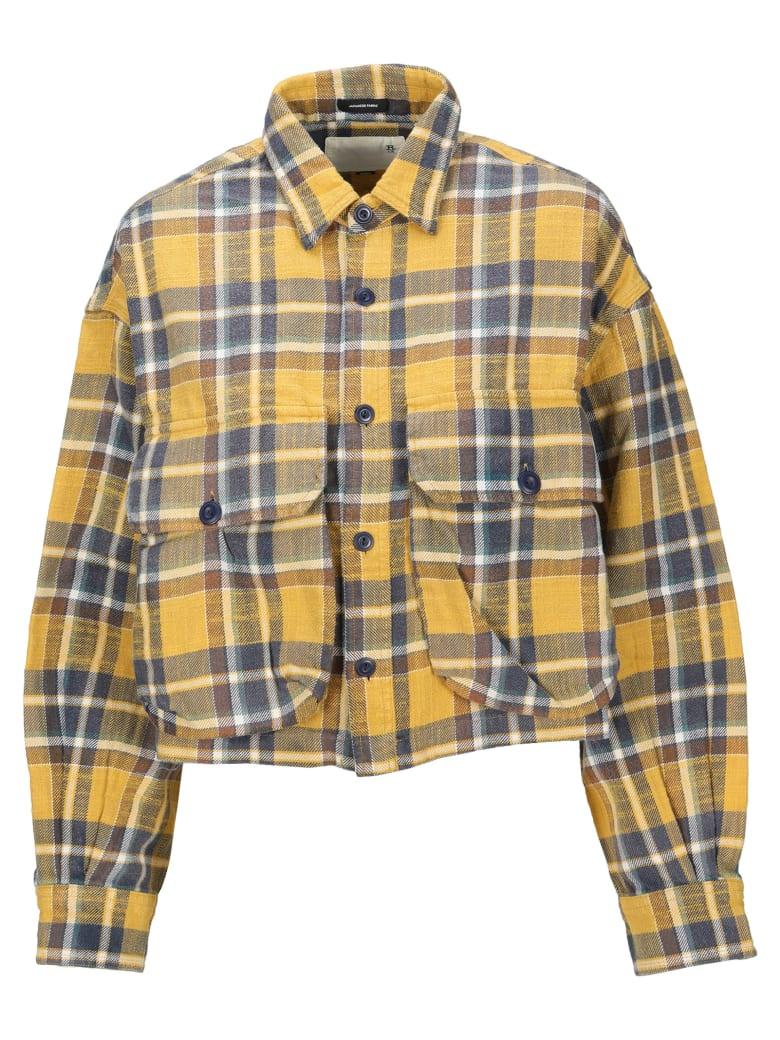 R13 Cropped Flanel Check Shirt - YELLOW