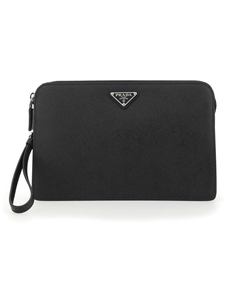 Prada Logo Plaque Top Zipped Clutch - Black