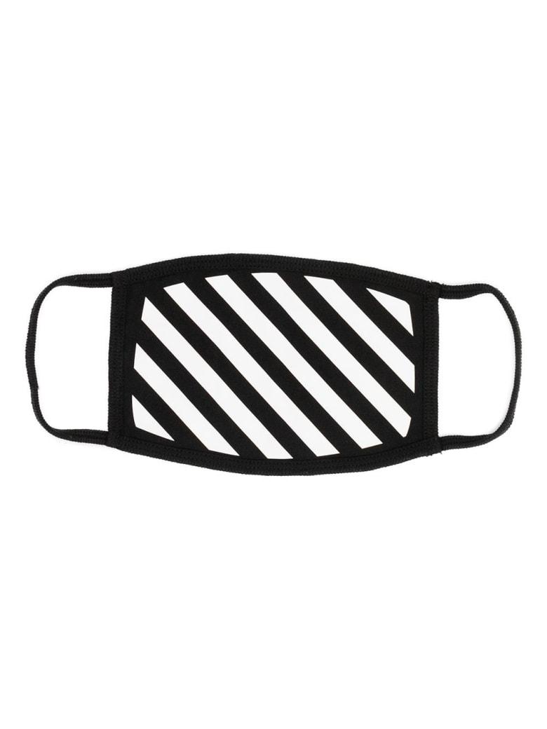 Off-White Cotton Mask With Diagonal Print - Black