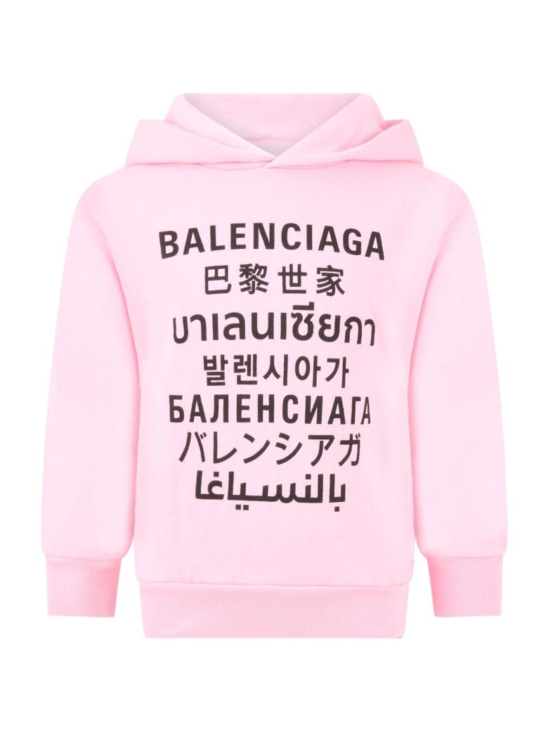 Balenciaga Pink Sweatshirt For Kids With Logos - Pink