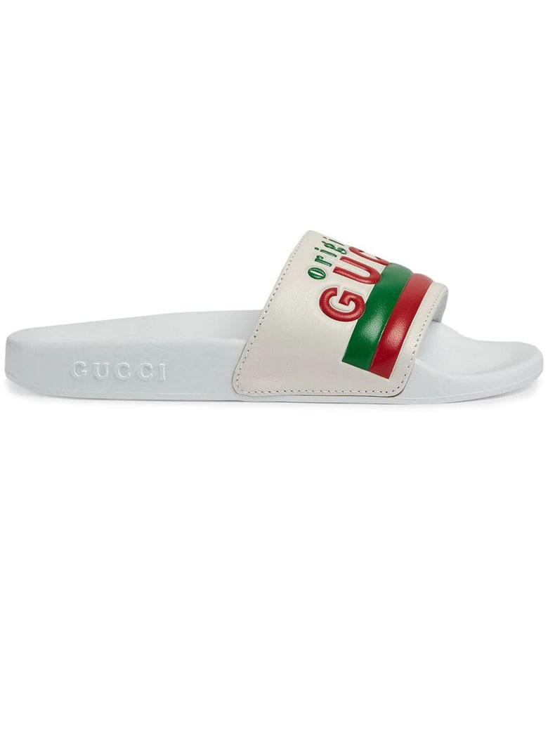 "Gucci Children's ""original Gucci"" Slide Sandal - Bianco"