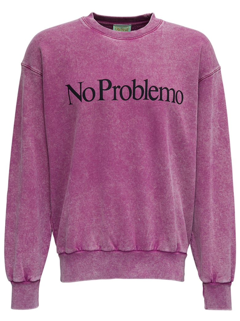 Aries No Problemo Washed Effect Jersey Sweatshirt - Pink