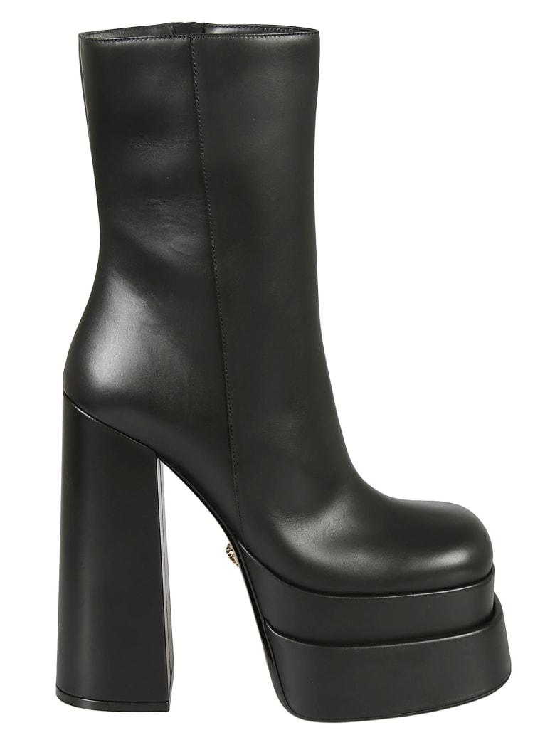 Versace High Block Heel Boots - Black