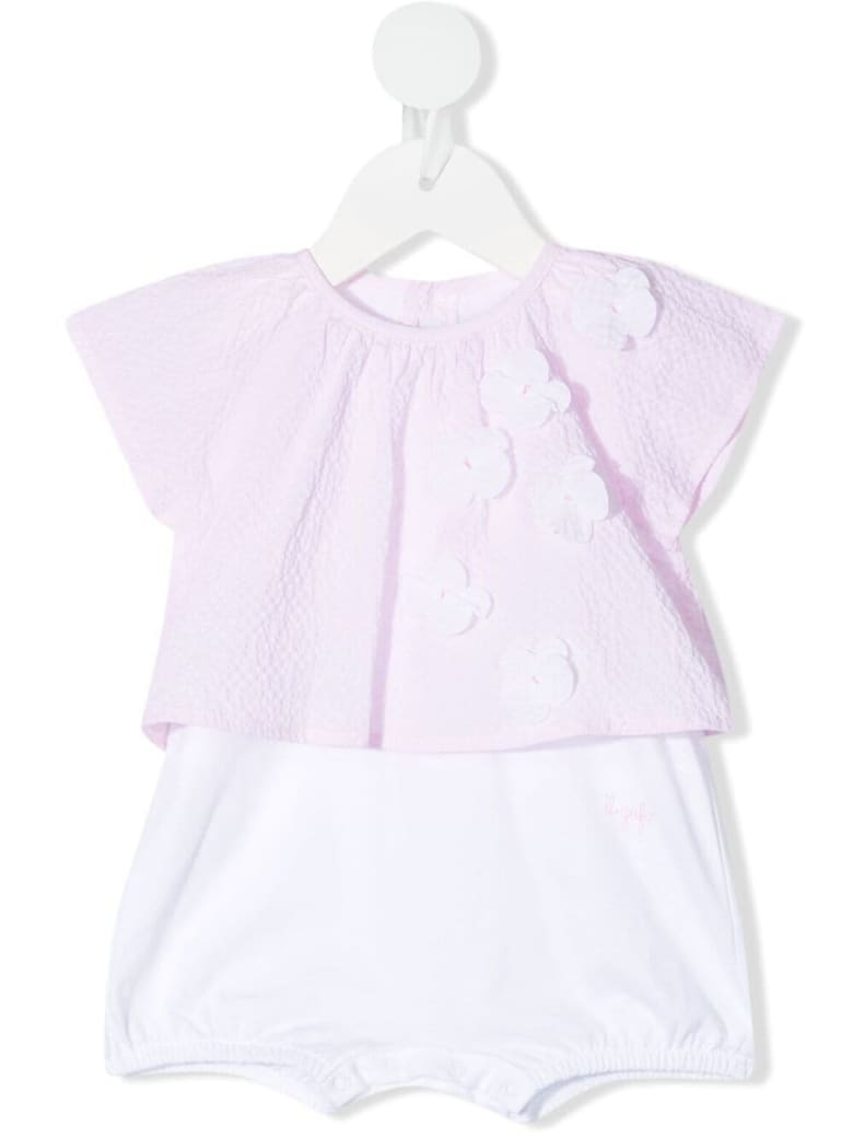 Il Gufo Pink And White Seersucker Romper With Flowers - Rosa