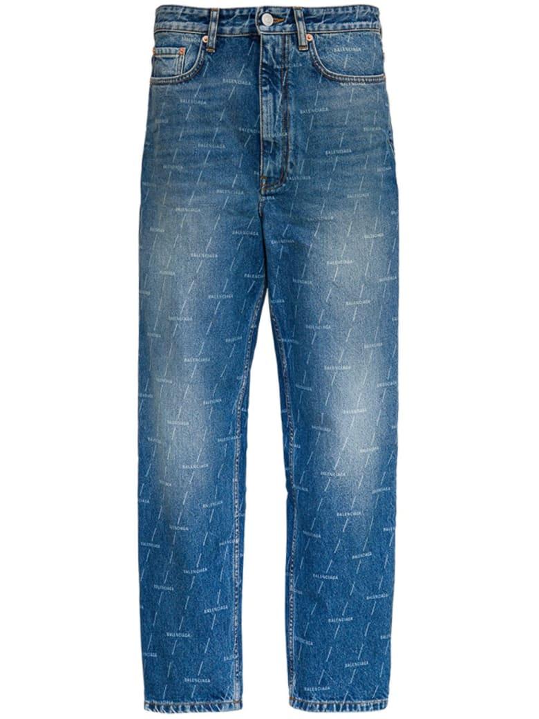 Balenciaga Jeans With Allover Signature - Blu