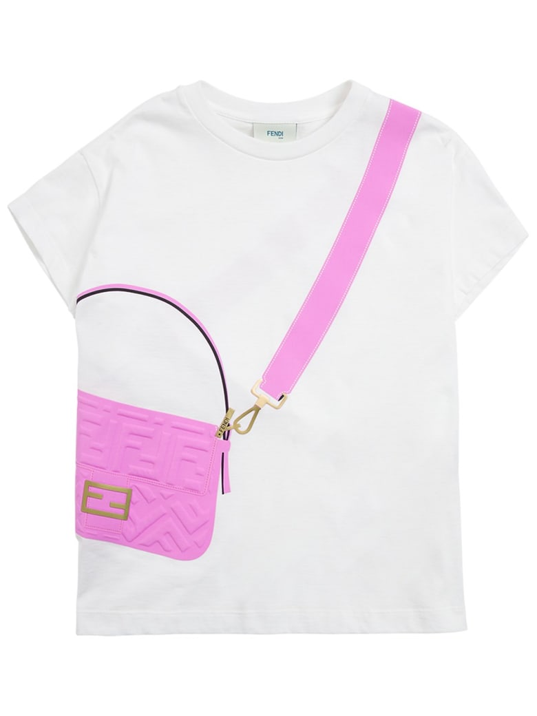 Fendi White T-shirt With Baguette Print - White