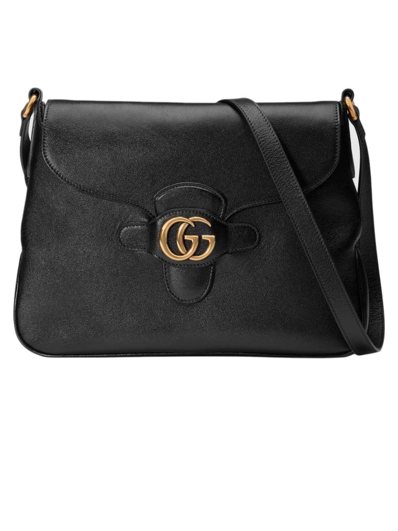 Gucci Black Leather Messenger Bag - Nero