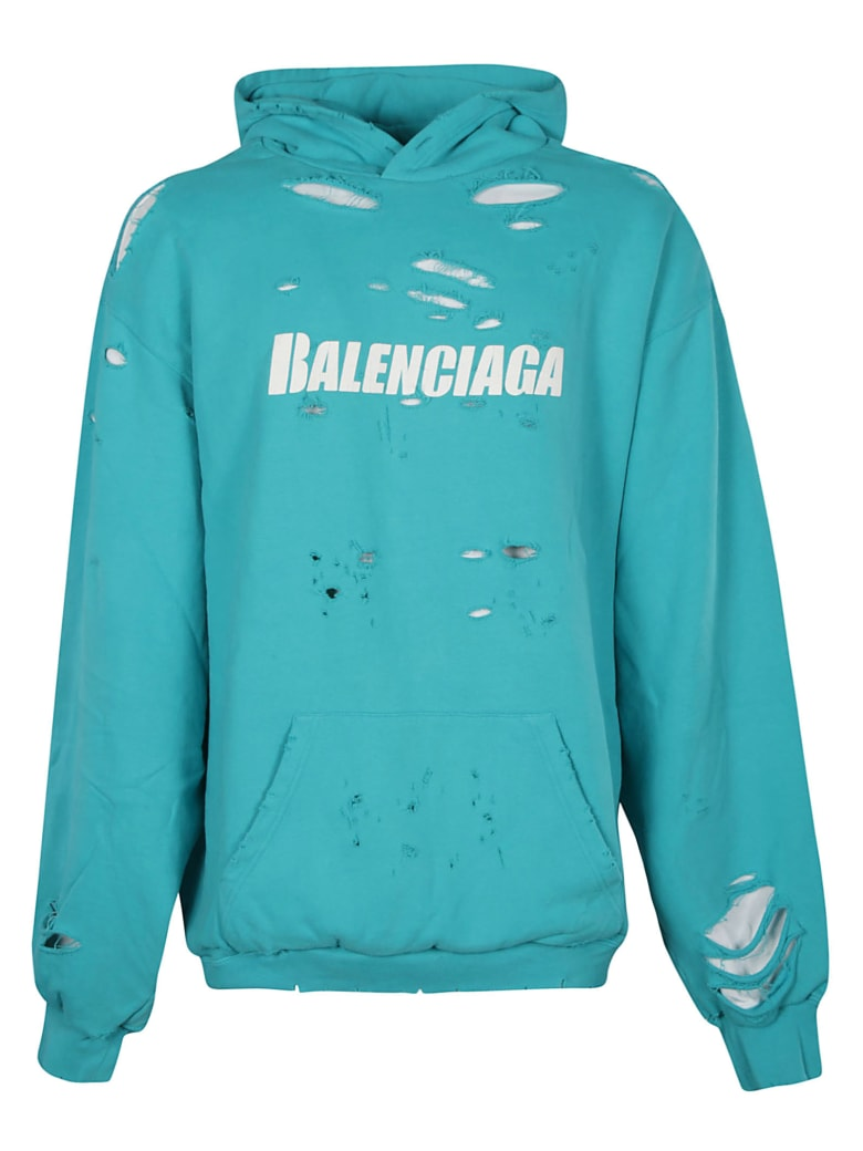 Balenciaga Destroyed Oversize Logo Hoodie - Azzurro