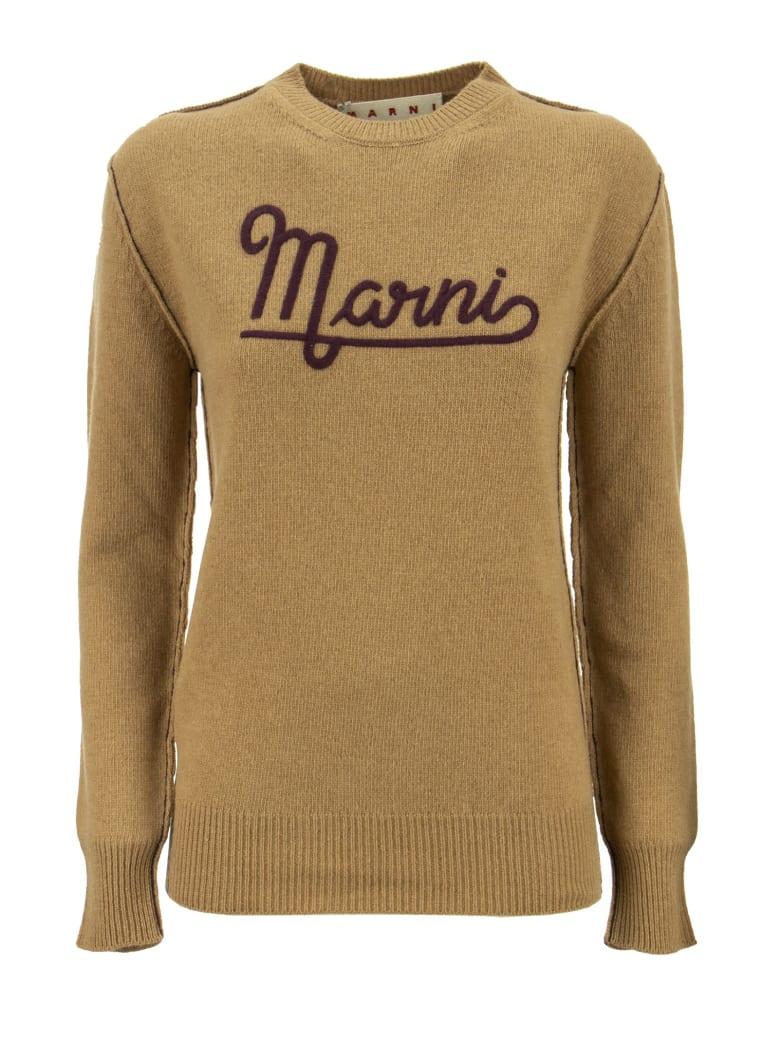 Marni Hazelnut Crewneck Sweater With Embroidered Logo - Hazelnut