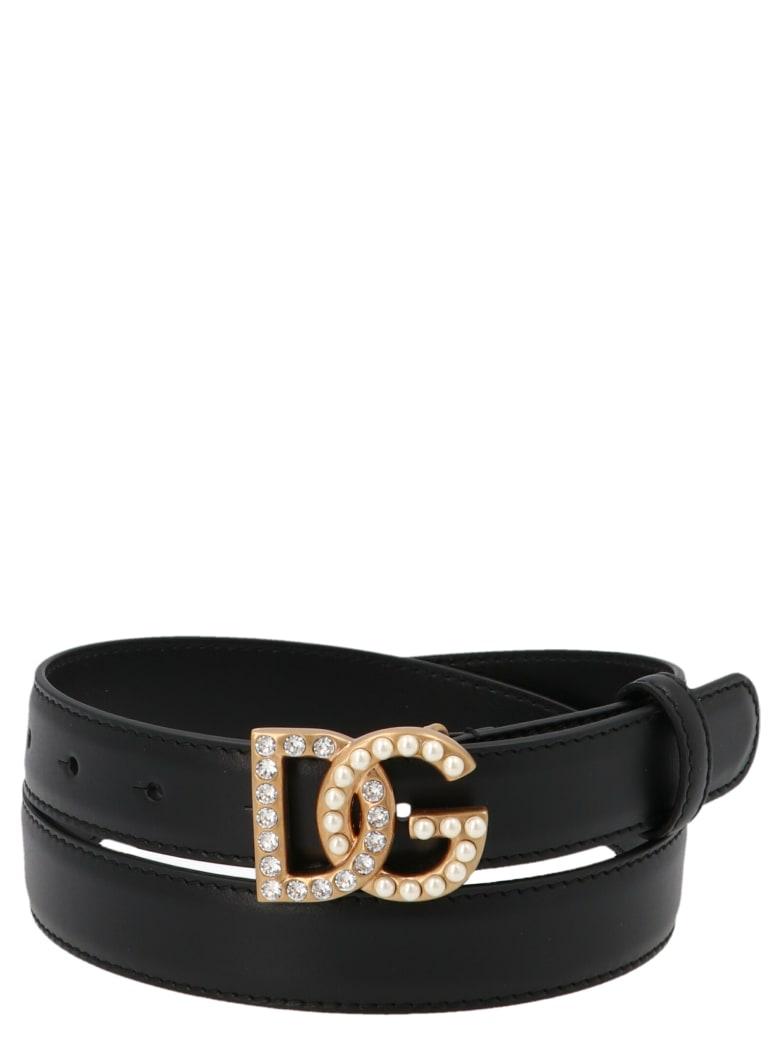 Dolce & Gabbana Logo Embellished Buckle Belt - Nero