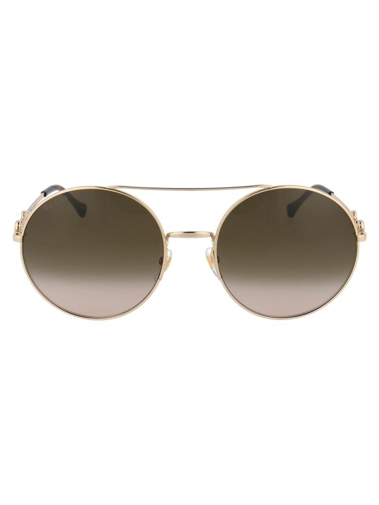 Gucci Gg0878s Sunglasses - 002 GOLD GOLD BROWN
