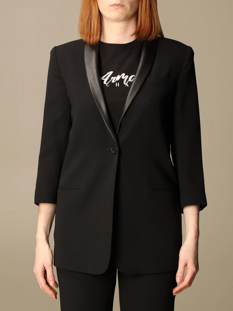 Armani Collezioni Armani Exchange Blazer Armani Exchange Single-breasted Jacket With Synthetic Leather Collar - Black