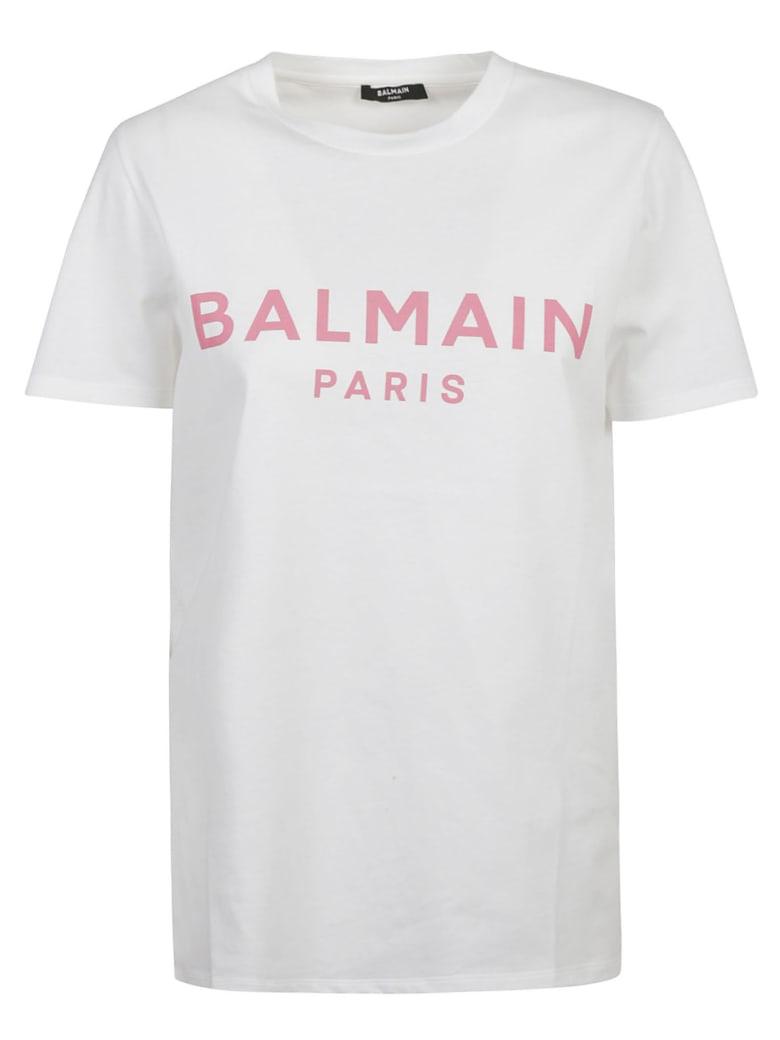 Balmain Classic Logo T-shirt - White/Pink