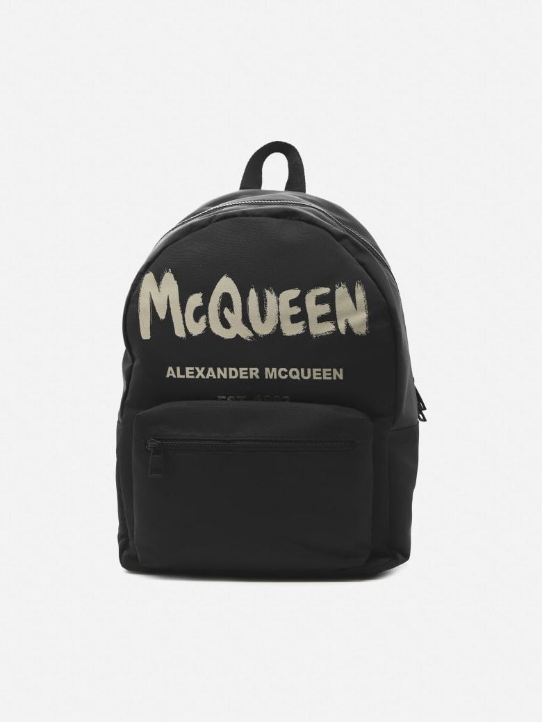 Alexander McQueen Metropolitan Backpack In Cotton Canvas With Contrasting Logo Print - Black