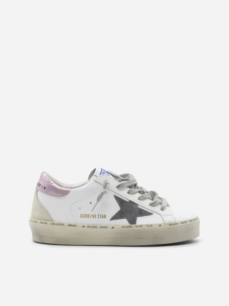 Golden Goose Hi Star Sneakers In Leather With Contrasting Heel Tab - White