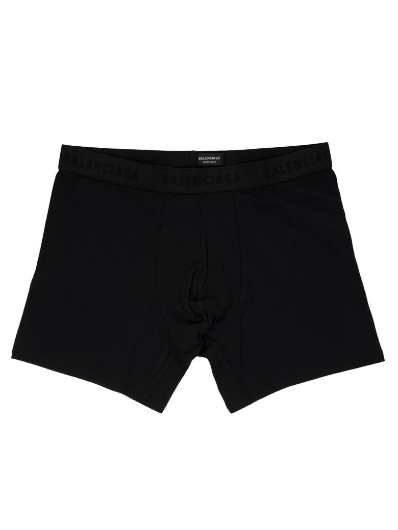 Balenciaga Man Black Boxer Shorts With Logo Tape - Black