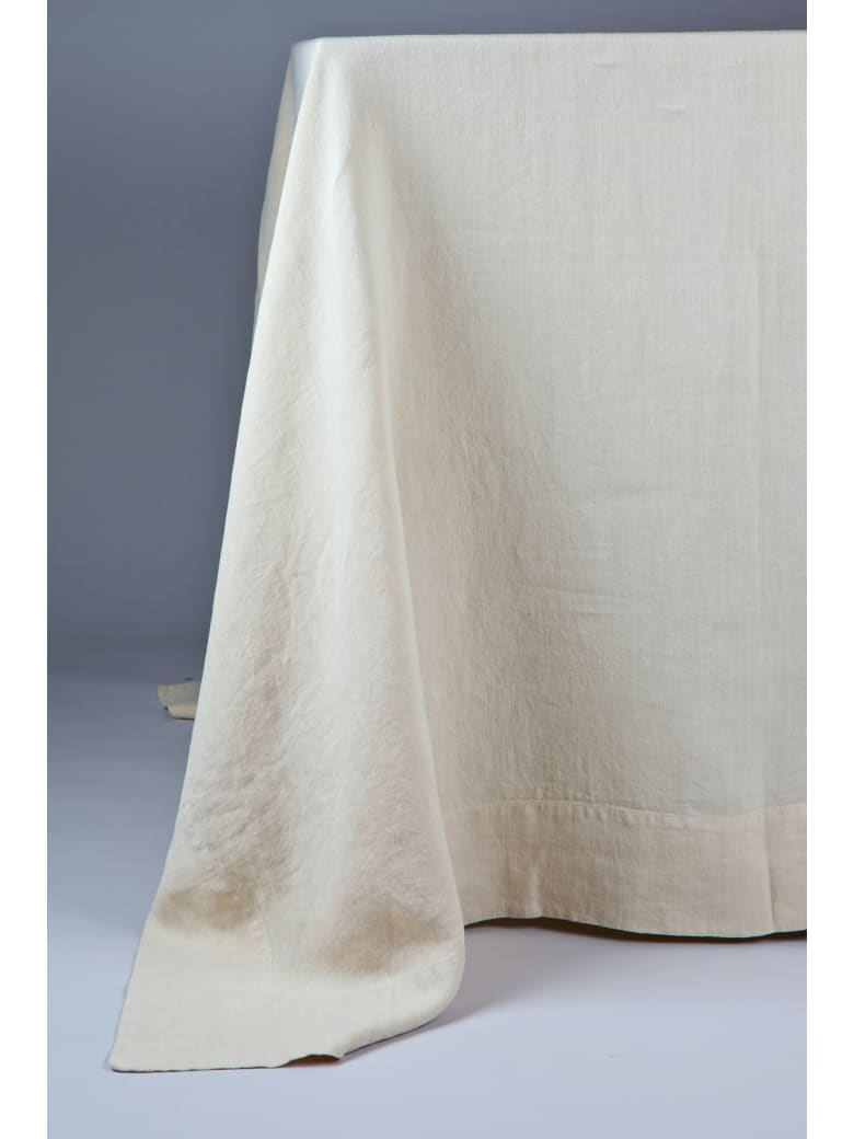 Once Milano Line Tablecloth With Large Border - Cream