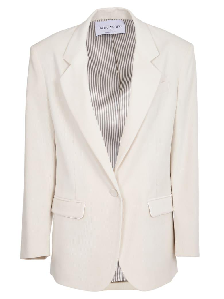 Hebe Studio Cordury White Jacket - white