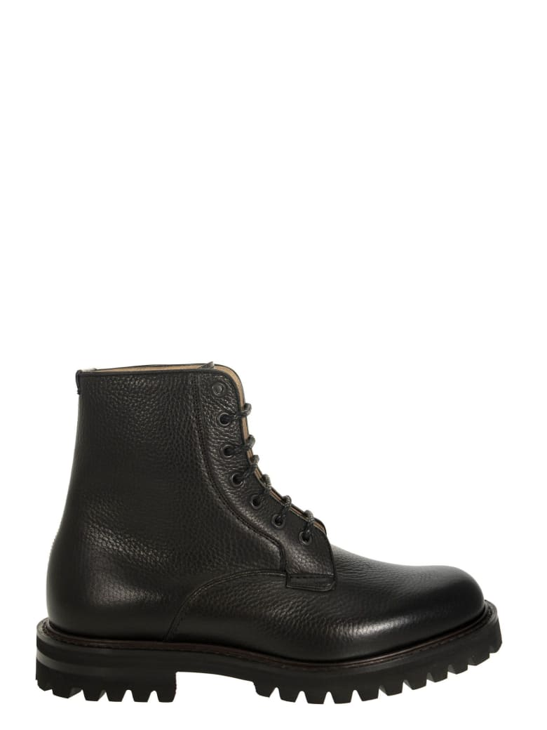 Church's Coalport 2 - Hammered Leather Lace-up Boot - Black