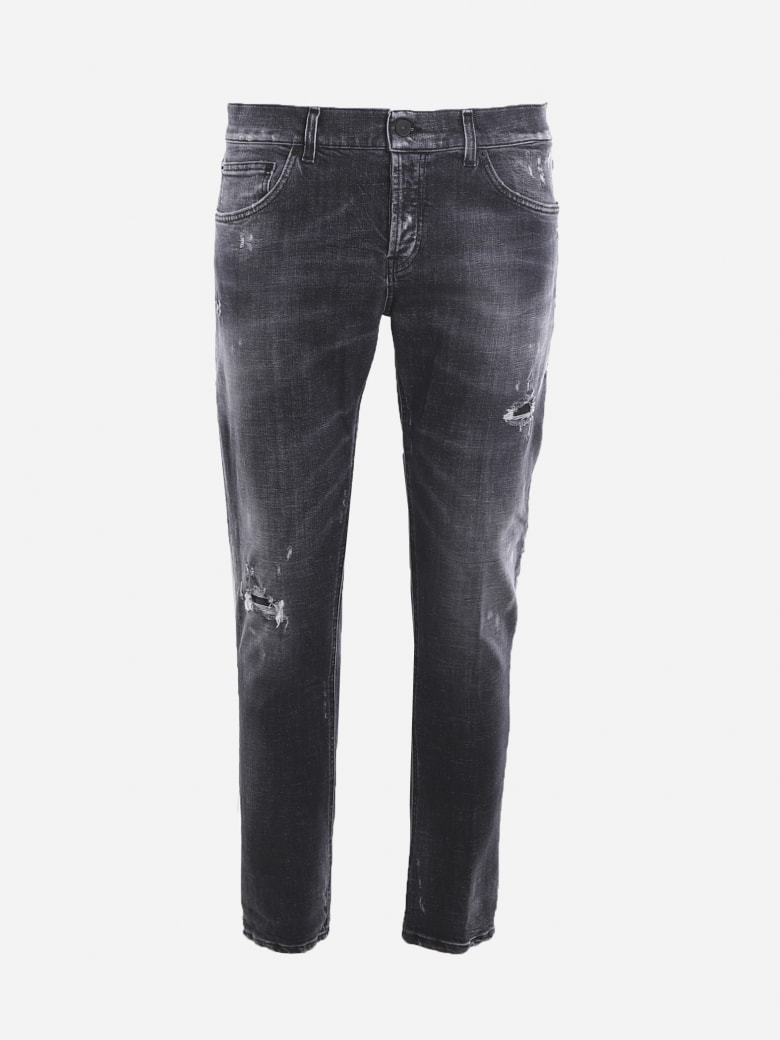 Dondup Stretch Cotton Jeans With Tear Detail - Black