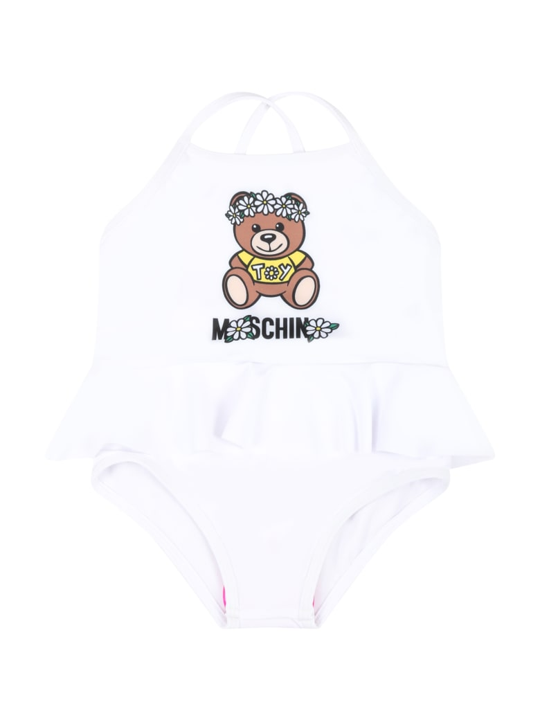 Moschino White Swimsuit For Babygirl With Teddy Bear - White
