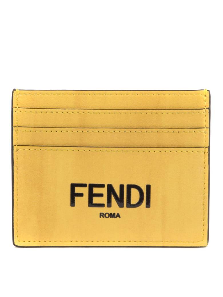 Fendi Fendi Yellow Leather Cardholder - Yellow box+nero+os