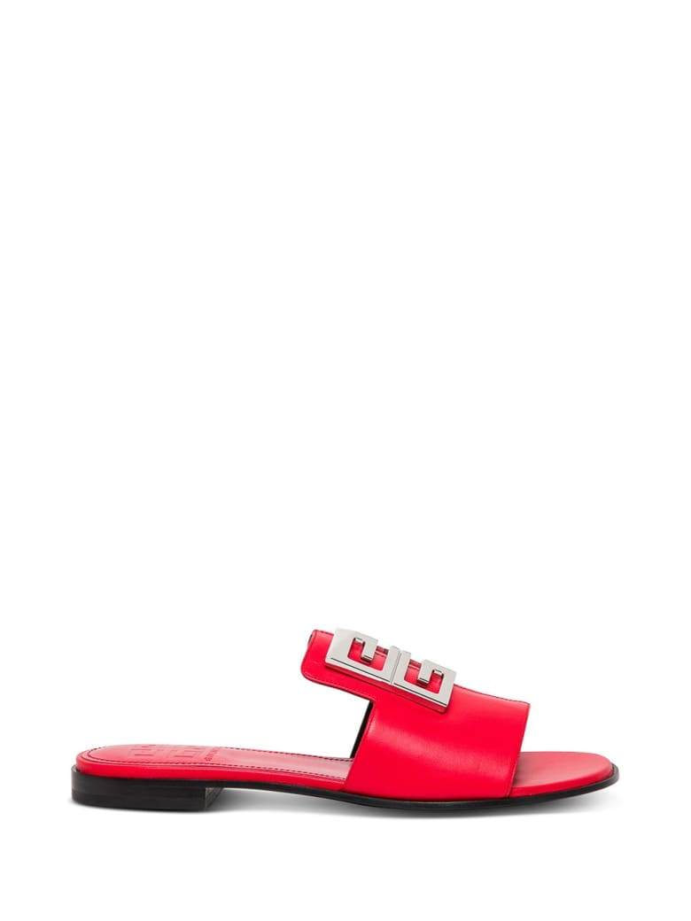 Givenchy 4g Flat Sandals In Red Leather - Red
