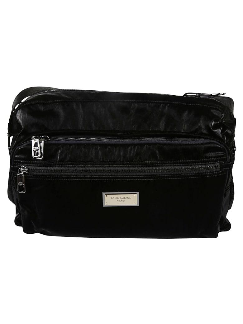 Dolce & Gabbana Top Zip Logo Plaque Messenger Bag - Black