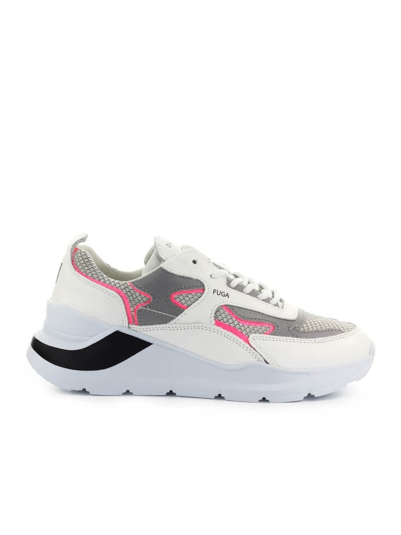 D.A.T.E. Fuga Flash Grey Fuchsia Sneaker - Bianco/Rosa
