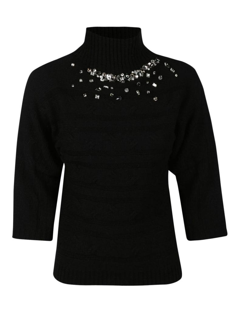Anna Molinari Crystal Embellished Turtleneck Sweater - Black