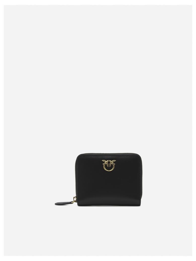 Pinko Leather Wallet With Love Birds Plaque - Black