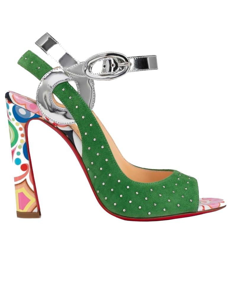 Christian Louboutin Multicolor Suede Loopinga Toe Plume Sandals - MULTICOLOR