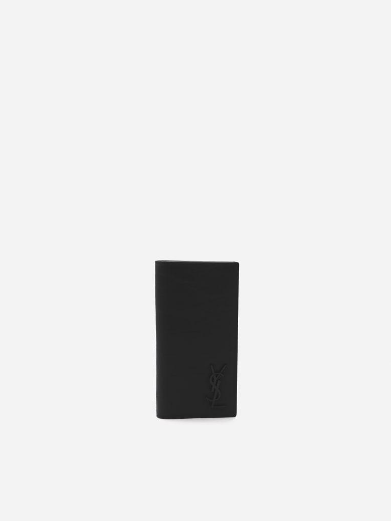 Saint Laurent Monogram Continental Wallet In Embossed Leather - Black