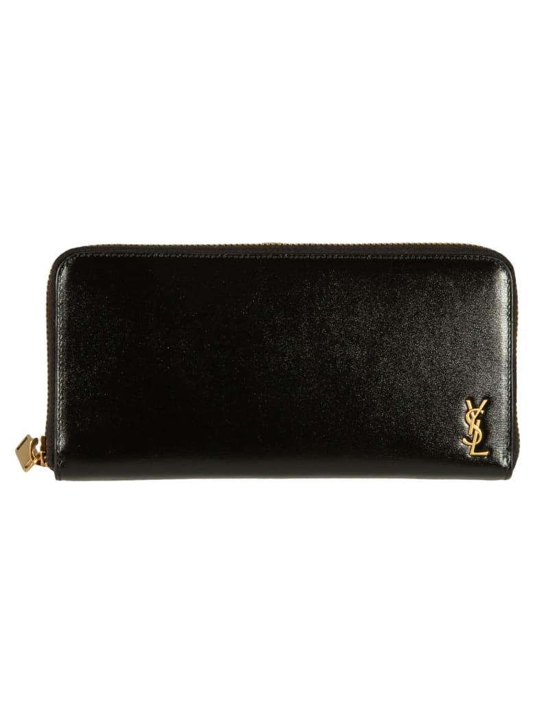 Saint Laurent Logo Plaque Zip-around Wallet - Black